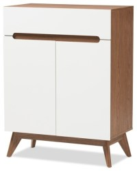 Anzy - Mid-Century Modern White And Walnut Wood Storage ...