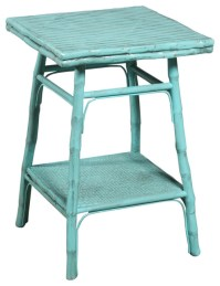 Square Bamboo Side Table, Antiqued Turquoise - Tropical ...