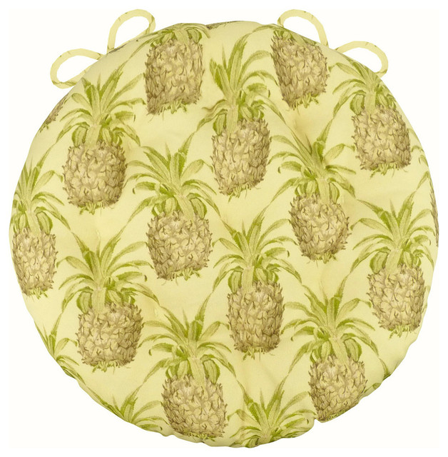 16 round bistro chair cushions toddler booster high pineapple grove natural pad cushion with ties tropical seat by barnett home decor