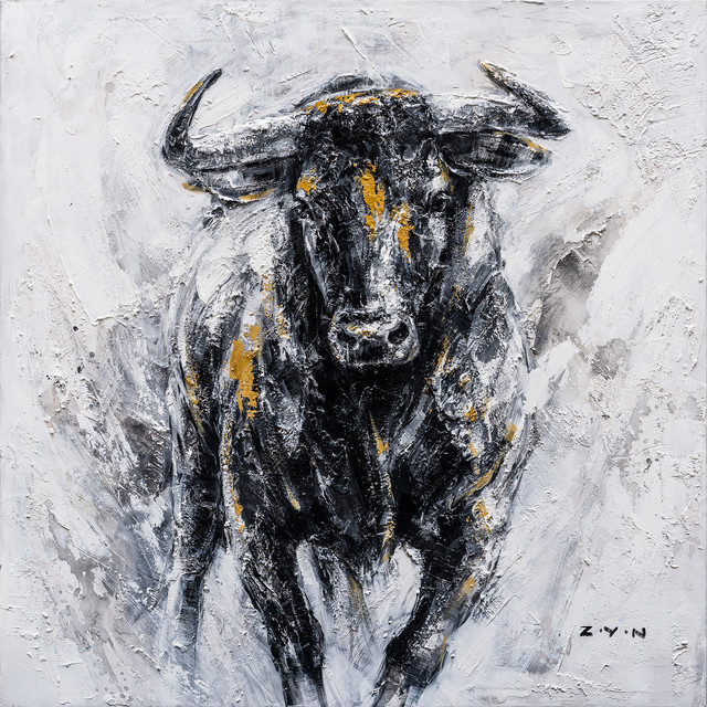 fearless bull hand painted