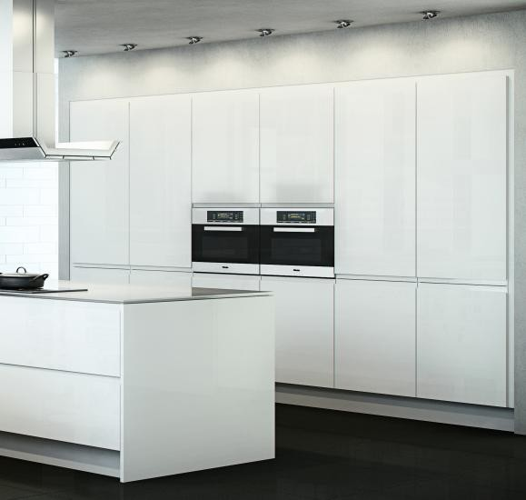 White Gloss Handleless Kitchen Cabinet Doors Contemporary