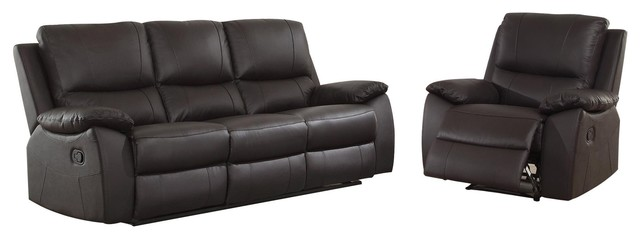 double recliner chairs collapsible ergonomic chair 2 piece guadet reclining sofa and brown leather