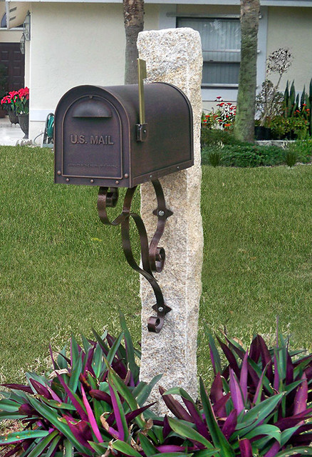 Granite Mailbox Post in Honey Wheat Color  Traditional  Landscape  Boston  by AVO Fence