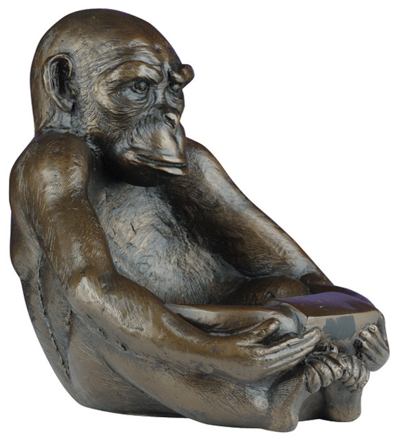 Large Sitting Monkey Bowl  Traditional  Decorative