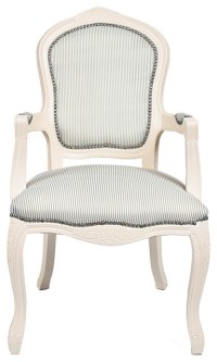Ivory French Louis Armchair, Pale Green Stripe - Armchairs ...
