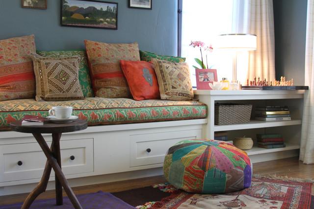 Rowena Built In Bench Eclectic Living Room Los