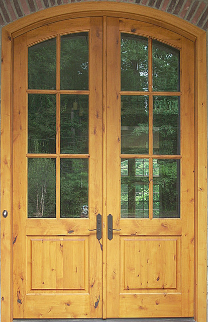 Knotty Alder Arched Double Entry Door Rustic Front
