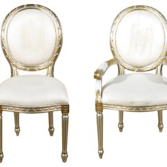 Gold Dining Chairs Folding Beach Set Of 10 Silver Balloon Back White Muslin Victorian By Mbw Furniture