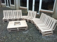 Patio pallet furniture with fire pit table and porcelain top