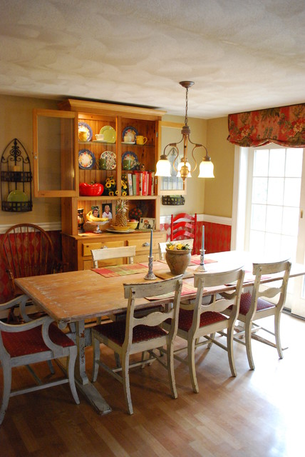 Faux Painted Harlequin Rustic Antique Farm Table Red Kitchen