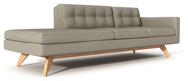 luna one arm sofa with chaise modern indoor chaise lounge