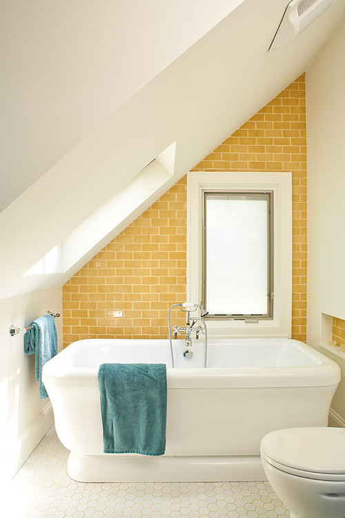 Yellow and Turquoise Bathroom