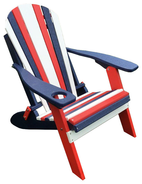 poly lumber red white and blue folding adirondack chair with cup holder