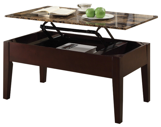 acme celestial faux marble lift top coffee table cherry