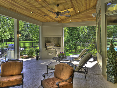 screen porch lounge chairs stool chair walmart rooms and features - traditional st louis by heartlands building company