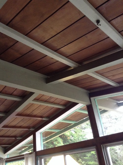 Painted wooden ceiling beams