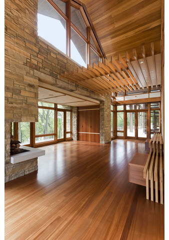 Bamboo Floors Stone Walls Wood Ceiling and Details  Contemporary  Indianapolis  by David K