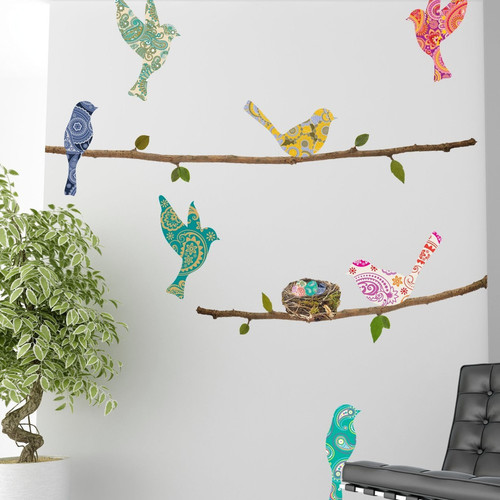 Paisley Birds and Branches, Wall Decal