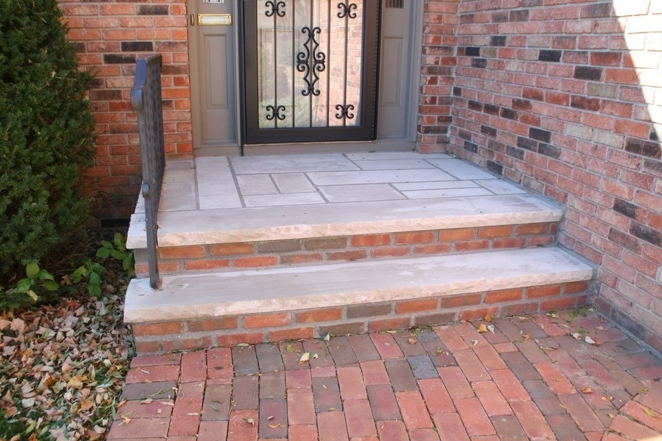 Front Steps And Walkways Traditional Entry Minneapolis By | Brick Front Step Designs | Patio | Entry | Front Entrance Front Porch Wall Tile | Raised Front | Bluestone Treads 24 Inch Rise