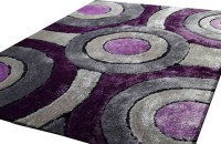 Shaggy Living Room Area Rug, Purple and Grey, Hand-Tufted ...