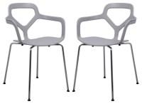 LeisureMod Modern Carney Armchair With Chrome Leg, Set of ...