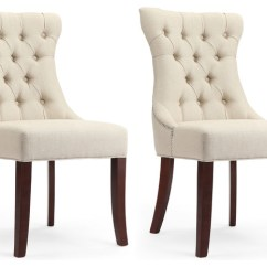 Tufted Nailhead Chair Aluminium Chairs And Tables Dorchester Natural Linen Dining With Trim Set Of 2