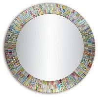 Bohemian Rainbow Rhapsody Wall Mirror, Glass Mosaic