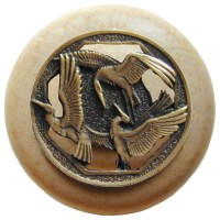 Notting Hill Crane Dance/Natural Wood Knob - Antique Brass ...