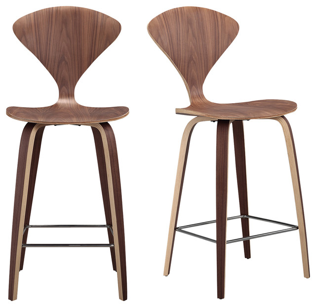 bar stool chairs kitchen chair covers dunelm manta modern walnut wood stools set of 2