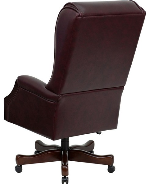 tufted leather executive office chair High Back Traditional Tufted Burgundy Leather Executive