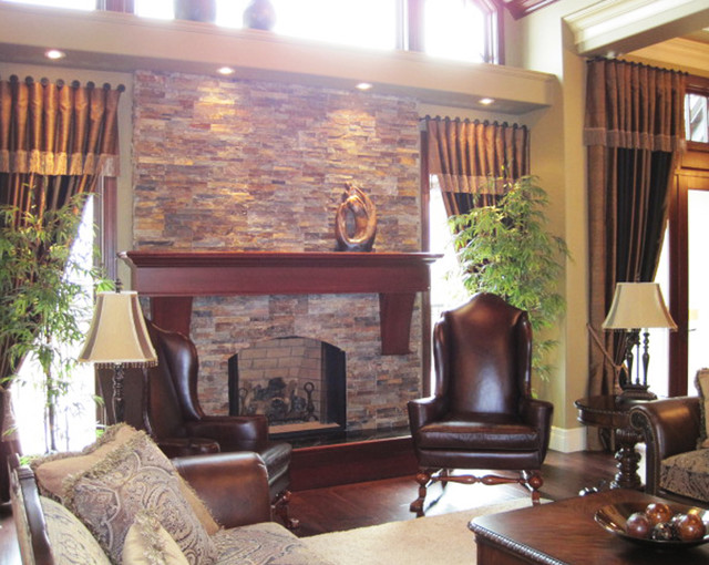 Traditional Open Concept Stone Fireplace Traditional Living Room Cleveland By Realstone