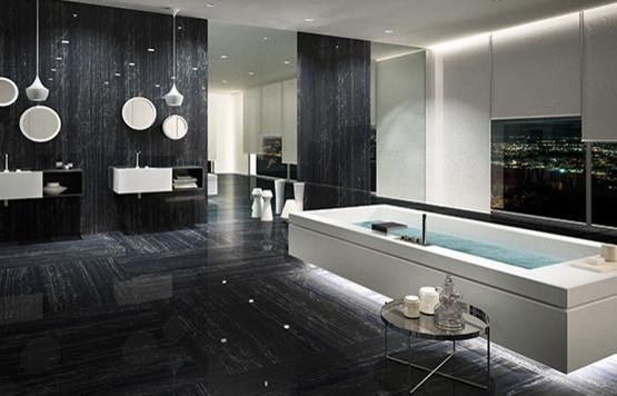 Fiandre Marmi Maximum Nero Supremo  Stanza da Bagno  Londra  di The London Tile  Mosaic Company
