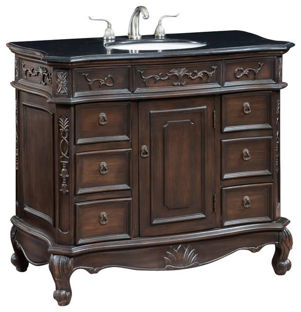 40 inch Single Bath Vanity With Black Granite Top