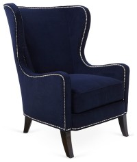 Dempsey Wingback Chair, Navy - Contemporary - Armchairs ...