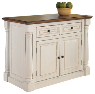 home styles monarch kitchen island storage table antiqued white - traditional ...