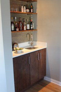 Modern Built-in Wet Bar with Walnut Cabinet and Quartz ...
