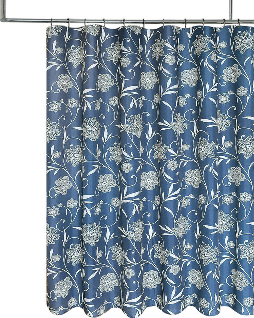 navy blue cream floral scroll fabric shower curtain