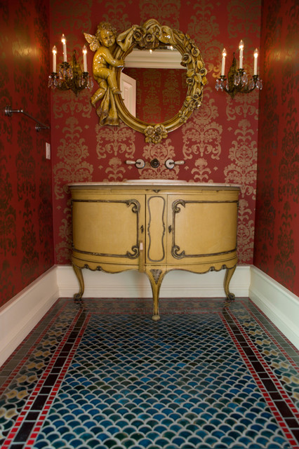 Peacock Bathroom Floor Tile  Contemporary  Powder Room  minneapolis  by Clay Squared to Infinity