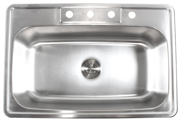 "33"" Stainless Steel Top Mount Drop In Single Bowl"