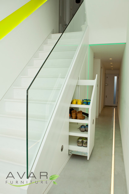 Under Stairs Storage Solution Contemporary Staircase