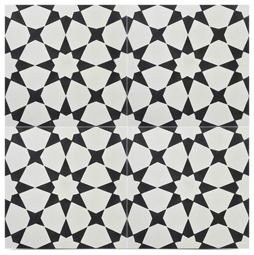 "Medina Handmade Cement Tile, Black and Off-White, Set of 12, 8""x8"""