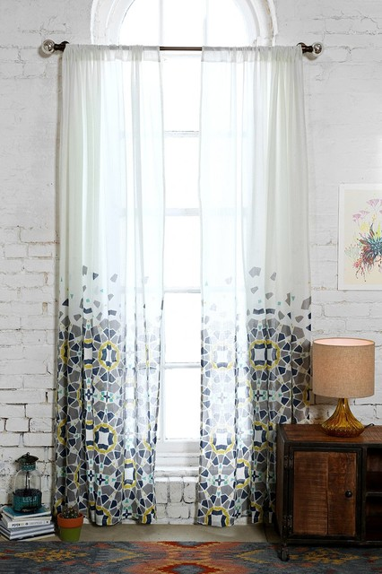 grommet kitchen curtains lacquer cabinets magical thinking moroccan tile curtain, blue ...