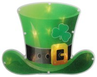 B/O LED Irish St. Patrick's Day Leprechaun Hat Window ...