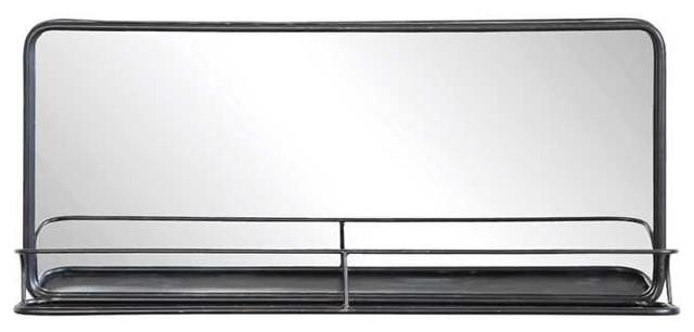 Metal Framed Pharmacy Mirror With Shelf