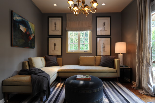 living room arrangements with sectionals white walls black furniture sophisticated den - transitional family new ...
