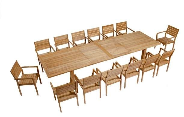 Barlow Tyrie Apex Teak Rectangular Extending Dining Table