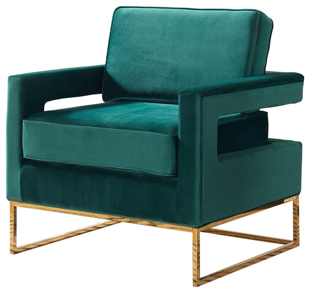 contemporary accent chair leather and wood noah velvet armchairs green gold base