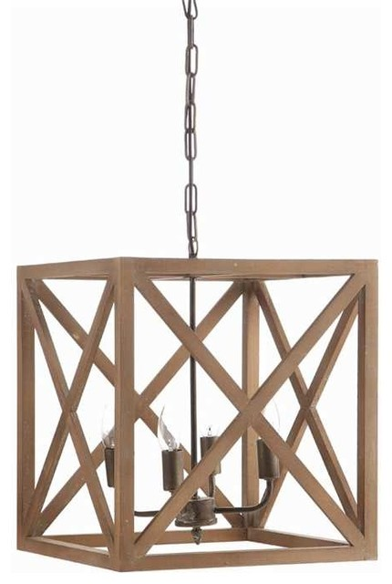 Charlotte Cube Metal And Wood 4 Bulb Chandelier Farmhouse Chandeliers