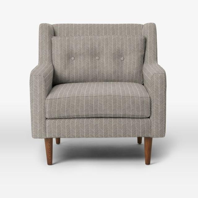 Crosby Armchair, Herringbone Print, Platinum