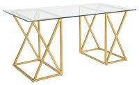 Chelsea House Gilt Gold Wrought Iron and Glass Top Desk ...